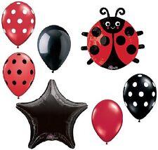 LADYBUG Lady Bug Polka Dots 7 Pc Birthday Party Mylar & Latex Balloons Set B