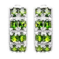 EARTH MINED AAA++ CHROME DIOPSIDE NATURAL GEMSTONE STERLING SILVER 925 EARRING