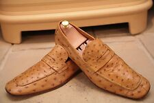 Prada Men's Made In Italy Tan Ostrich Skin Loafers Shoes Size UK 11.5