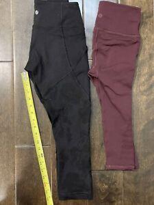 Lululemon Wunder Under Crop leggings pants Black Burgundy Floral LOT TWO Size 4