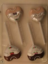 WEDDING DRESS HEART LOLLIPOP CLEAR PLASTIC CHOCOLATE CANDY MOLD W066