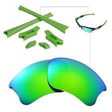 New Walleva Polarized Emerald Lenses And Rubber Kit For Oakley Flak Jacket XLJ