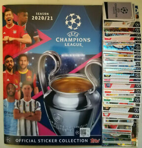 TOPPS UEFA CHAMPIONS LEAGUE 2020/21 COMPLETE 586 STICKER SET & 1 GOLD UK SET