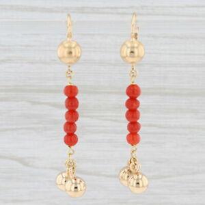 Corletto Coral Drop Earrings 18k Yellow Gold Bead Dangle Pierced