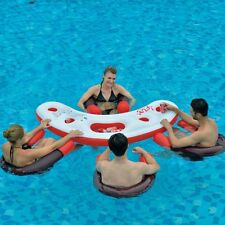 Inflatable 4 Person Designer Lounge Pool Chair Lilo Air Bed Mat Float Bar Drinks