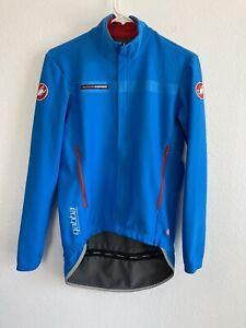 Castelli Rosso Corsa Gabba Size L Blue Zip Cycling Jacket Windstopper EUC