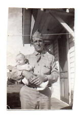 U.S. Army Corporal Tech 5 Holding Baby at Barling AR WWII Photo