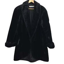 Donnybrook Coat Faux Fur 50s 60s Glam Retro Design Plush Solid Black Teddy sz M