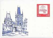 GERMANY DDR ILLUSTRATED SOUVENIR CARD OF PRAGUE '88 PERFECT MINT.