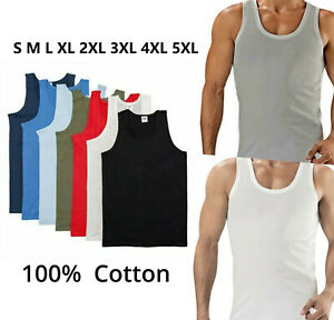 MENS VESTS TOP PACK SUMMER TRAINING TANK GYM PLAIN COTTON JERSEY GENTS SLEEVLESS