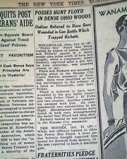 Charles PRETTY BOY FLOYD Bank Robber & Public Enemy No. 1 SHOT 1934 Newspaper