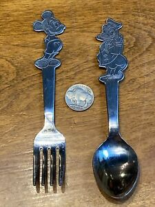 Vintage Walt Disney Stainless By Bonny Mickey Mouse And Donald Duck Spoon & Fork
