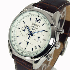 New SEIKO CHRONOGRAPH WHITE FACE BROWN CALF LEATHER STRAP SSB095P1