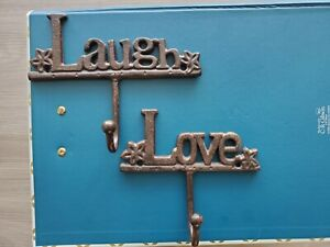 """LOVE"" & ""Laugh"" Metal Coat Key Rack Wall Mounted for Hanging Jacket Keys"