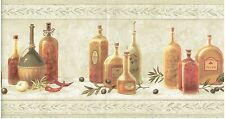 OLIVE OIL ON SHELF CHILI ONION AND PEPPERS KITCHEN INGREDIANTS Wallpaper bordeR