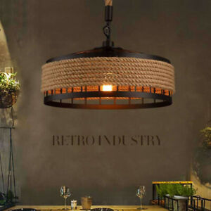 Vintage Rustic Industrial Hemp Rope Ceiling Light Pendant Light Retro Wall Lamp