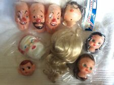 Vintage Lot Of 9 Pcs Santa Face Clowns Elf & Other Doll Heads 1 w/Hands 1DollWig
