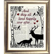 ART PRINT ON ORIGINAL ANTIQUE OLD BOOK PAGE Dictionary Heart BIRD Fox DEER Folk