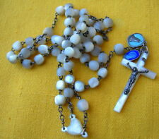 CIRCA 1900/20 SILVER STERLING AND MOTHER OF PEARL BEADS ROSARY / chapelet nacre