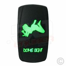 "Illuminated On/Off Rocker Switch w/Laser Etched Design ""Dome Light Girl"" Green"