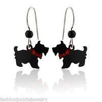 Scottie Dog Earrings - 925 Sterling Silver Ear Wires - NEW Scottish Terrier