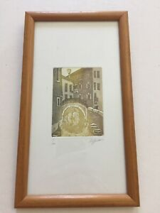 Limited Edition Etching Aquatint Of Venice. Signed De Bruno. 9/100. 5.5x9.5 in