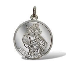 925 Argento Sterling 23mm rotondo San Cristoforo ST Chris Ciondolo Medaglia Charm