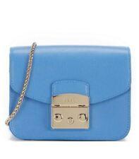 Woman Bag Furla Metropolis Mini Crossbody Blue Leather Celeste C 914336