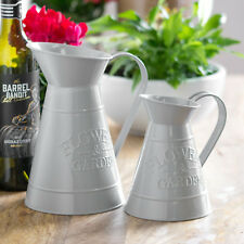 Set of 2 Grey Vintage Metal Jugs Pitchers Vases Home Wedding Table Decoration