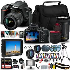 Nikon D3500 DSLR Camera with 18-55mm and 70-300mm Lenses (1588) + 4K Monitor +