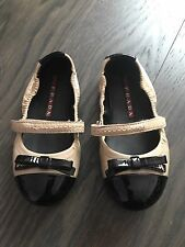 Prada Girl Beige Black Patent Leather Bow Ballet Flats Shoes Size 25 9
