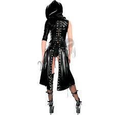 Women Leather Hooded Dress Bodycon Bodysuit Underwear Clubwear Catsuit Costume