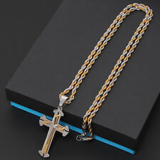 Men Gold Silver Black Stainless Steel Cross Crucifix Pendant Rope Cuban Necklace