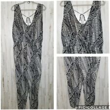 Jumpsuit Black White Pockets Elastic Waist Preowned Size XL