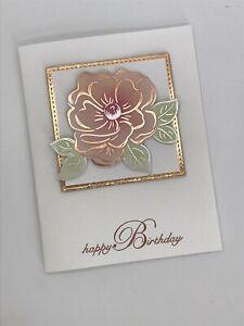 Stampin' Up Birthday Card Kit - Flowering Foil, Rose Gold, Floral Blushing Bride