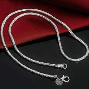 925 Sterling Silver Men's Women's Solid Italian Round Snake Chain Necklace 3mm
