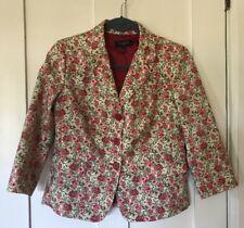 Talbots Floral Print 3/4 Sleeve Blazer Jacket, Cotton, Pink Floral, 8 Petite