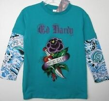 Ed Hardy Girls Teal Flower Shirt (L) NWT