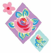 Harlequin Rose 25 Flower Wallies Pink Diamond Stickers Purple Blue Border Decals