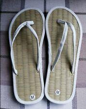 Ladies Straw Flip Flops Plain Ivory