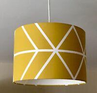 Handmade Mustard Yellow White Geometric Lampshade Ceiling Pendant or Table Lamp