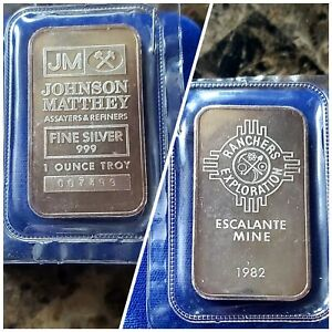 1982 Johnson Matthey Escalante Mine - 1 Troy oz .999 Fine Silver Bar #007499