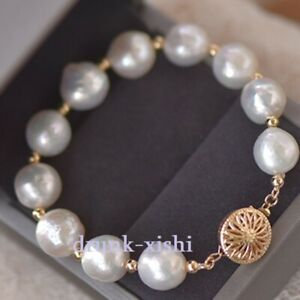 Natural Big Round Baroque 11-12mm South Sea White Pearl Bracelet 14k Gold Clasp