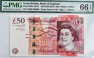 2010 (2011) England £50 Pound Note PMG 66 EPQ Fifty Bill 393a B410 UK Britain