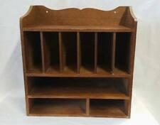 Vintage Wooden Tabletop Desk Organizer Mail Storage 9 Cubbies