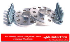 Wheel Spacers 20mm (2) Spacer Kit 5x108 65.1 +Bolts For Citroen C5 [Mk3] 08-16
