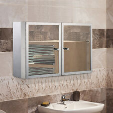 Bathroom Wall Mounted Cabinet Storage Stainless Steel Glass w/ Mirror Shelves