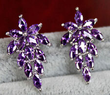 18K White Gold Filled - Flower Grapes Amethyst Topaz Gemstone Cocktail Earrings
