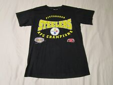 Vtg Nutmeg 1996 Pittsburgh Steelers AFC Champions T-Shirt Youth XL Mens Small