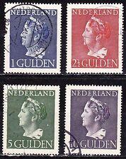 1946 Koningin Wilhelmina hoogste waarden 1 / 10 gld gestempeld  NVPH 346 / 349